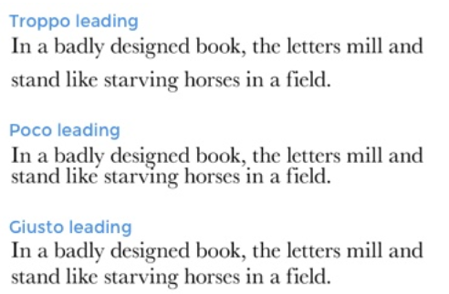 leading caratteri tipografici