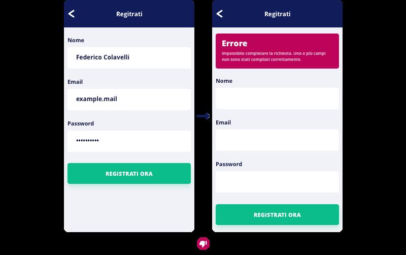 L'utente preme invio dopo aver compilato tutti i campi, ma si ritrova al punto di partenza per un singolo errore non specificato.